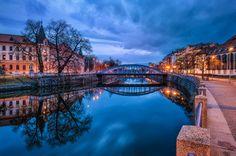 -- Evening in Ceske Budejovice -- by PetrKubat City Architecture, Czech Republic, Prague, Skyscraper, River, City Buildings, Mansions, Urban Design, House Styles