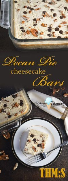 Recommended and easy She has good cookbook These Pecan Pie Cheesecake Bars are THM:S, low carb, sugar free, and gluten free. The perfect combination of pecan pie and cheesecake! Sugar Free Desserts, Sugar Free Recipes, Dessert Recipes, Cake Recipes, Pecan Recipes, Dessert Bars, Lunch Recipes, Dinner Recipes, Pecan Pie Cheesecake