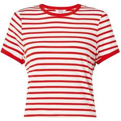 Miss Selfridge PETITE Red Stripe T- Shirt (235 ARS) ❤ liked on Polyvore featuring tops, t-shirts, shirts, red, petite, red shirt, white shirts, red white shirt, red striped shirt and white t shirt