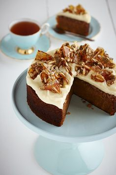 Butternut Pumpkin Spice Cake with Sunflower Almond Toffee and Cream Cheese Icing