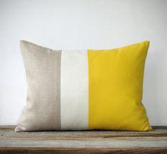 Lemon Linen Color Block Cushion Cover with Cream Stripe by JillianReneDecor - Spring Summer Home Decor - Bright Yellow - Freesia