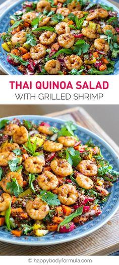 Thai Quinoa Salad With Grilled Shrimp