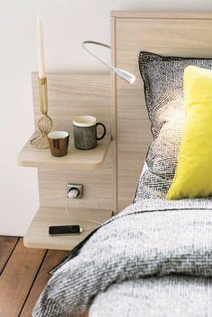 Chevets Loft: table de chevet, table de nuit | Meubles CéLio Bedroom Wardrobe, Home Bedroom, Master Bedroom, Bedroom Decor, Space Saving Furniture, Bed Furniture, Camas King, Minimalist Bedroom, Bed Design