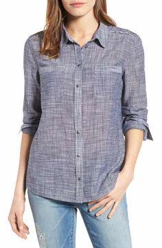 Caslon® Long Sleeve Crinkle Cotton Shirt (Regular & Petite)