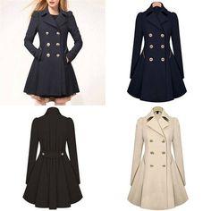 Us Fall Womens Ladies Long Sleeve  Warm Long Parka Coat Top Outwear Slim Jacket
