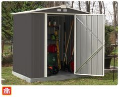 Add outdoor storage to your yard without using yard space. This compact design lets you tuck away all your tools and provides a modern and stylish look. Gardening Tools, Outdoor Storage, Compact, Shed, Outdoor Structures, Space, Stylish, Modern, Design