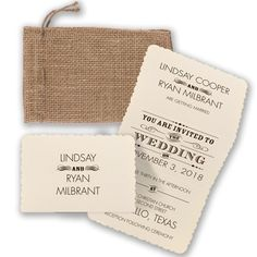 Essential Typography - Rustic Wedding Invitation - Burlap Bag, Poster at Invitations By David's Bridal