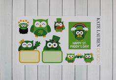 St. Paddy's Day Planner Stickers for Erin Condren Happy Planner Filofax kikki.K Plum Paper St. Patrick's Day Stickers Owl Stickers