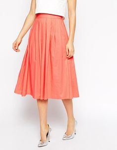 ASOS   ASOS Pleated Midi Linen Skirt at ASOS