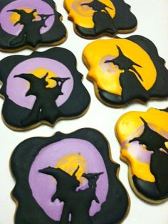 Witch silhouette cookies based on paper cutouts by Nancy Michalak www.facebook.com/auntienays