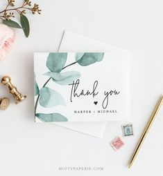 Eucalyptus Thank You Card Template INSTANT DOWNLOAD 100% | Etsy