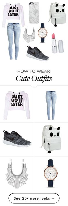 """""""chill school outfit"""" by tjvxxi on Polyvore featuring Object Collectors Item, NIKE, Uncommon, FOSSIL, Lucky Brand and HoneyBee Gardens"""