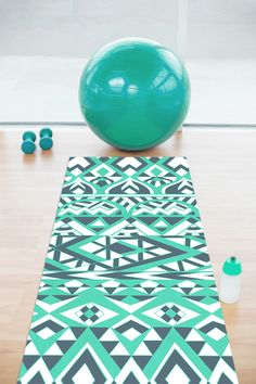 'Mint Tribal Simplicity' yoga mat by Pom Graphic Design #yoga #yogamat #fitness #gym #exercise #yogawear #yogaaccessories #fit #fitnessproducts #healthylifestyle #aztec #tribal #mint #teal #aqua #turquoise #geometric