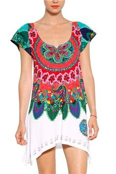 Desigual Clothing and Accessories Online Mexican Outfit, Mode Boho, Love Fashion, Womens Fashion, Altering Clothes, Blouse And Skirt, Online Fashion Boutique, Vintage Fabrics, Chic Outfits