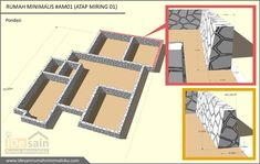 pondasi-desain-rumah-minimalis-3-kamar House Construction Plan, Small House Design, Home Design Plans, My Dream Home, Building A House, Projects To Try, Sweet Home, How To Plan, Aries