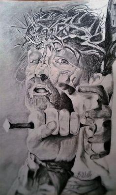 Christian Drawings, Christian Artwork, Christ Tattoo, Jesus Tattoo, Jesus Christ Painting, Jesus Art, Jesus Drawings, Pencil Drawings, Crucifixion Of Jesus