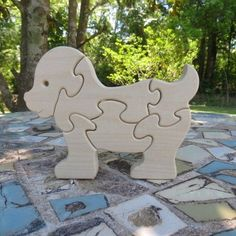 wood dog puzzle children's toy by manwood on Etsy, $7.95