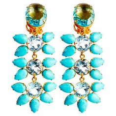 Check out this item at One Kings Lane! Blue Quartz & Turquoise Earrings