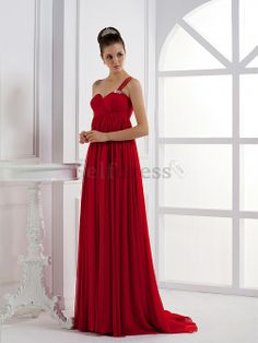Fall Misses Chiffon Sweep Train Elegant & Luxurious Long Hourglass Red Mid Back Evening Dress