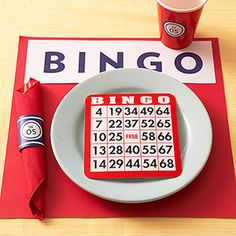 It's game time with one of the world's most popular games -- Bingo! Make napkin rings and cup stickers with the guest of honor's initial and age. Serve it beside a pate with a bingo sheet ready to go. Game Night Parties, Casino Theme Parties, Casino Party Games, Birthday Party Planner, Birthday Party Themes, Birthday Ideas, 75th Birthday, Tema Las Vegas, Bingo Party