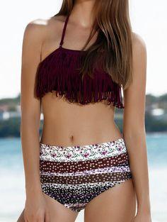 Stylish Halter Fringed Floral Printed Bikini Set For Women