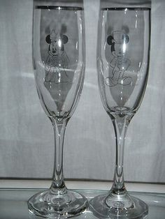 Disney Mickey and Minnie Mouse wedding champagne flutes/ glasses