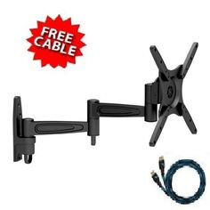 """Mount-It! LCD LED TV Wall Mount Full Motion with Swivel Articulating Arm for 17-37, up to 42 in TV Flat Panel Screen With VESA 200 100, 16 in extension by Mount-It!. $23.99. The Mount-it articulating mount Mi-455 is a mounting solution for most 17""""-37"""" midsize flat panels and some models up to 42inch with VESA 100x100/200x200/200x100mm mounting hole patterns. Heavy gauge aluminum construction provides safety loading up to 44lbs display and elegance and light weight of aluminum..."""