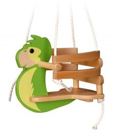 The parrot baby swing is ideally suited to small children since it provides an upright and safe seat. Large selection of baby swings in the shop! Wooden Baby Swing, Baby Swing Seat, Wood Swing, Baby Swings, Wooden Toy Trucks, Wooden Toys, Horse Swing, Kids Swing, Child Swing