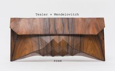 "Wood Clutch: ROSE.  ""Wood skin"" wood and hide clutch purse with geometric surface design.  Tesler + Mendelovitch on Etsy."