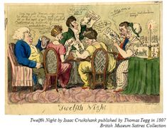 Twelfth Night, by Thomas Tegg, © The Trustees of the British Museum: A party of men and women round a table look at caricatures of themselves. Christmas History, English Christmas, A Christmas Story, Christmas Carol, Distaff Day, Parlor Games, Christmas Greenery, Twelfth Night, British Museum
