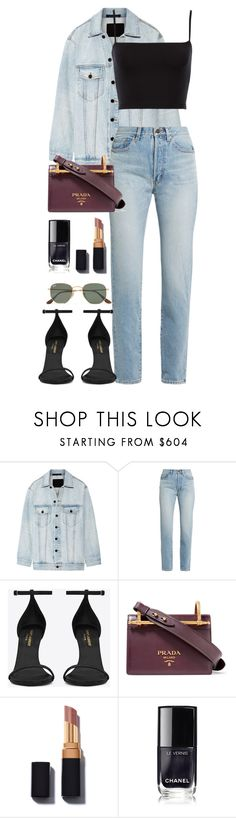 """""""Untitled #1179"""" by fashionmodelstyle ❤ liked on Polyvore featuring Alexander Wang, Yves Saint Laurent, Prada, Barneys New York and Ray-Ban"""