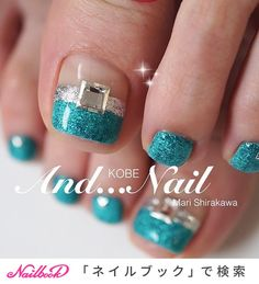★★★ Blue is popular at this time Tension also rises and there is also a refreshing feeling . Blue Glitter Nails, Pink Nails, Summer Toe Nails, Feet Nails, Japanese Nails, Nail Studio, Nails Inc, Nail Shop, Nail Stickers