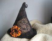 Halloween witch hat black felted with felt wool flower rose orange brooch, sauna cap