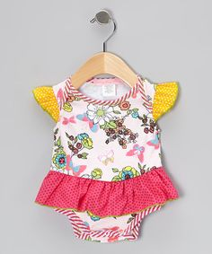 Pink Madame Butterfly Ruffle Bodysuit - Infant by Everyday Nay on #zulily