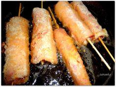 Švajčiarske syrové špízy so šunkou (fotorecept) - recept Sausage, Pork, Meat, Kale Stir Fry, Sausages, Pork Chops, Chinese Sausage