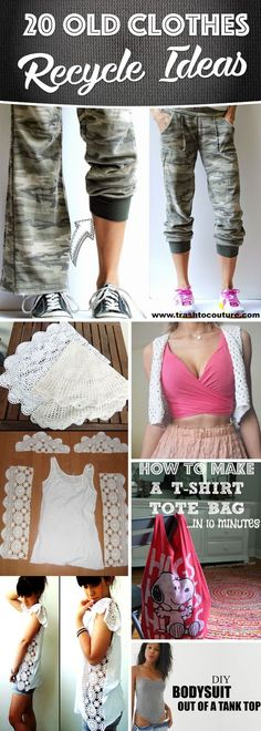 20 Old Clothes Recycle Ideas That You Need to Upcycle Old Wardrobe Items 20 Alte Kleidung Recycling- Clothes Crafts, Sewing Clothes, Alter Pullover, Recycle Old Clothes, Outfit Essentials, Diy Clothes Refashion, Shirt Refashion, Upcycle Shirts, Refashioning Clothes