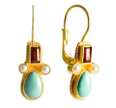 Eleanora Duse Turquoise, Garnet & Pearl Earrings silver jewelry of substance