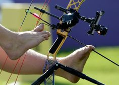 Archery for armless competitors at the 2012 paralympics.