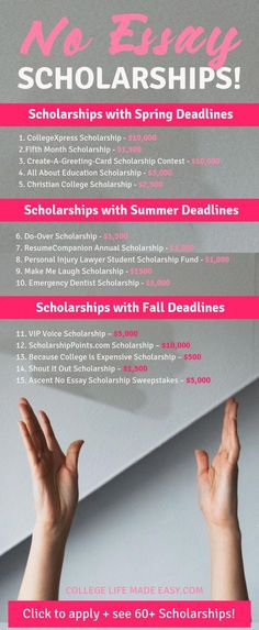 I'm so glad I found this list of scholarships for college that all have NO essay! They're so easy to apply for that I did them on my phone. All college students should be applying for these no essay scholarships! Financial Aid For College, College Planning, Education College, Financial Planning, Health Education, Physical Education, College Life Hacks, College Tips, School Hacks