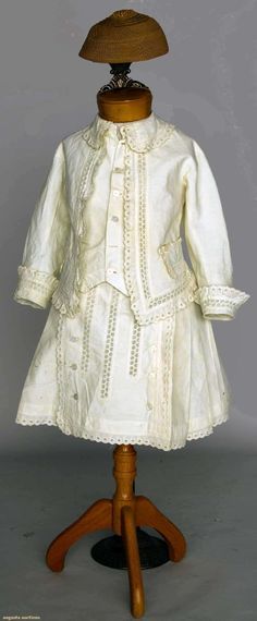 Little Boy's Summer Ensemble, circa 1875. Two-piece, skirt and top, heavy white corded cotton, soutache embroidery, grass woven beanie; belonged to David and/or Loomis Burrell, sons of Louisa Loomis Burell and David Burrell who built the Overlook Mansion in Little Falls, NY.