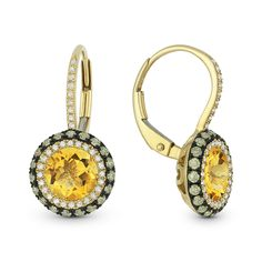 3.24ct Citrine w/ Brown & White Diamond Pave Leverback Drop Earrings in 14k Yellow & Black Gold - AlfredAndVincent.com