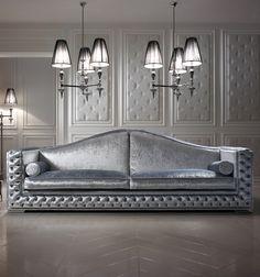 Luxury platinum velvet sofa