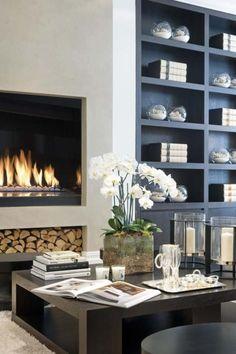 modern fireplace