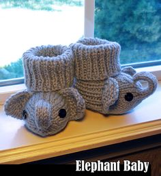 Knitting Pattern for Elephant Baby Booties - These booties are knit flat and designed to be stretchy and very comfortable.Includes instructions for the following sizes: 0-3 months, 6 months, 12 months. The designer gives permissiontosell items made from this pattern!