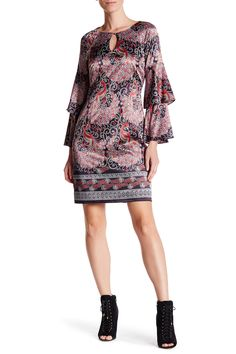 Paisley Tiered Flutter Sleeve Dress