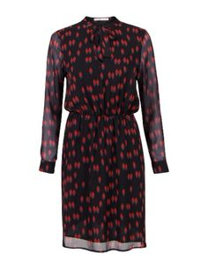 Geprinte jurk met halsstrik Zwart