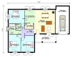 Mod le de plan de maison plain pied avec 3 chambres et for Bon plan construction maison