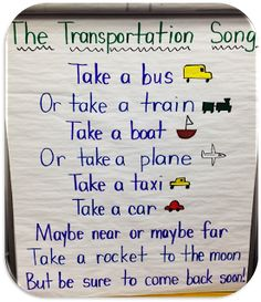 A great anchor board for any transportation unit! This cute song explores different things that go!