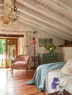 Rustic bedroom   painted ceiling and support beams