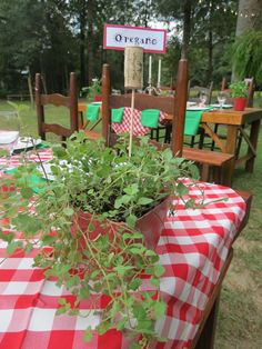 Italian Themed Wedding Rehearsal Dinner by It's Personal...Wedding Staging and Design.  Fresh Italian Herbs decorate the tables at a Backyard Italian Themed Rehearsal Dinner